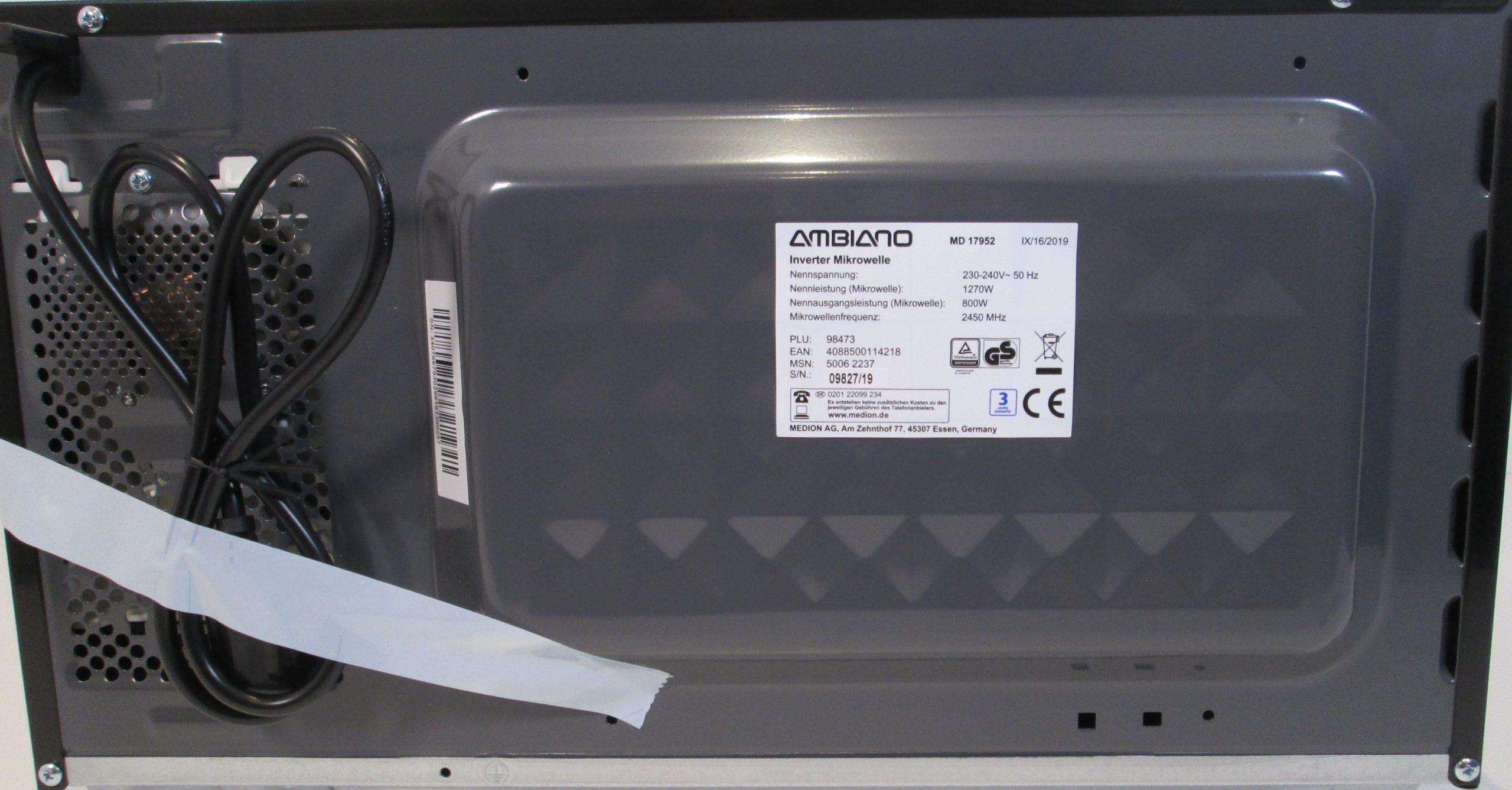 ambiano inverter mikrowelle
